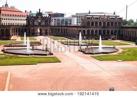Zwinger Castle in Dresden Germany at night