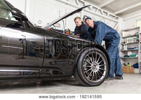 Sports car in a workshop