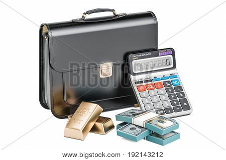 Business financial and banking concept briefcase with golden bars and calculator. 3D rendering