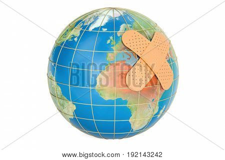 Earth globe with adhesive plaster 3D rendering