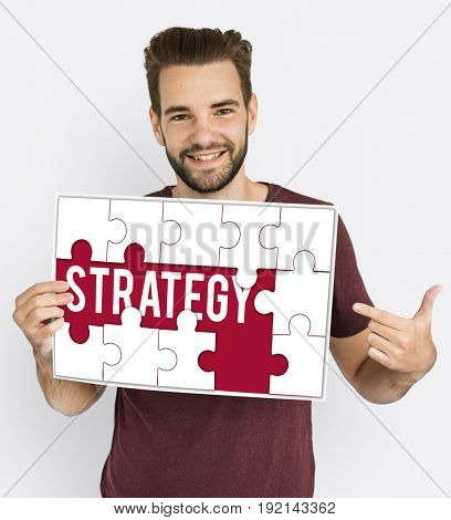 Strategy tactic word puzzle pieces
