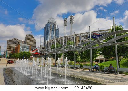 CINCINNATI, OHIO - JUNE 17, 2017:  Smale Riverfront Park is a premier attraction in Cincinnati, OH.  It borders Great American Ballpark.