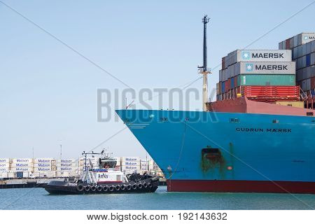 Oakland CA - June 06 2017: Tugboats are powerful for their size and strongly built. Tugboat REVOLUTION at the bow of cargo ship GUDRUN MAERSK assisting the vessel to maneuver into the Port of Oakland.