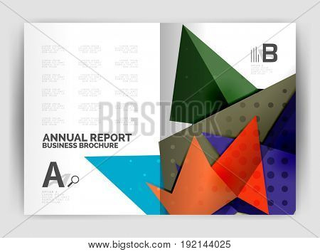 Triangle business print template, brochure, flyer or magazine cover abstract background