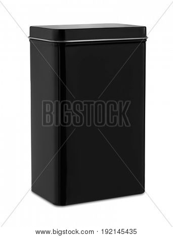 Black metal container isolated on white