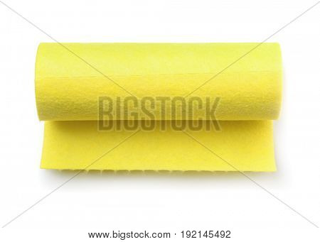 Top view of yellow felt fabric roll isolated on white