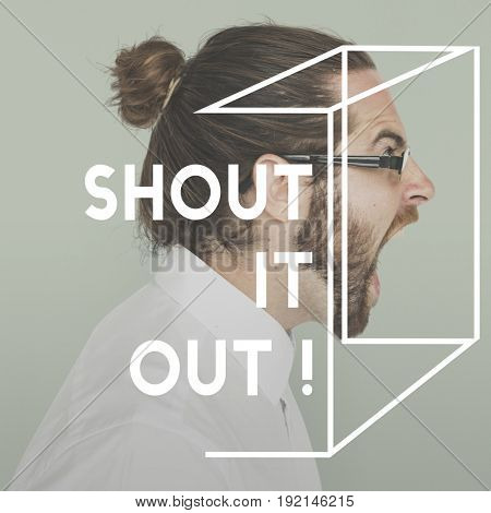 Speak Shout Out Human Rights Word on Adult Man Background