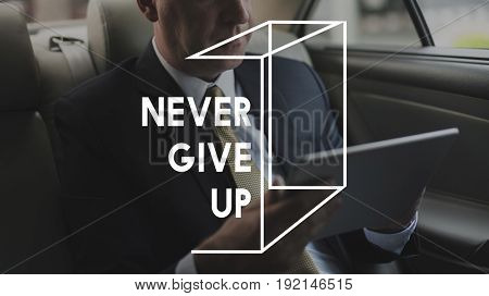 Never Give Up Life Motivation Word Graphic