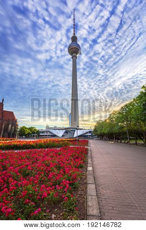 BERLIN, GERMANY - JUNE 15, 2017: TV Tower of Berlin at dawn, Germany. Berlin is the capital and the largest city of Germany with a population of approximately 3.7 million people.