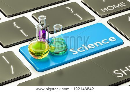 Science blue button key on the computer keyboard. 3D rendering