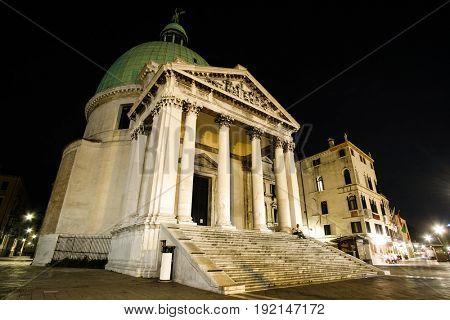 Basilica della Salute in Venice, Italy, in the night