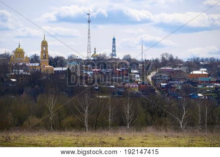 Panorama of Kashira town in spring, Moscow region, Russia