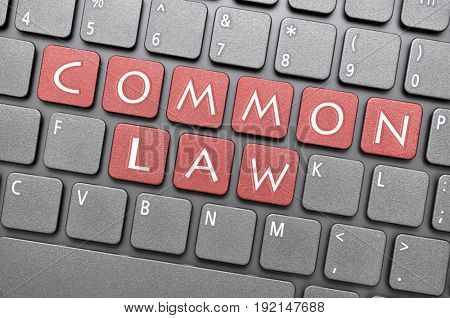 Red common law key on keyboard
