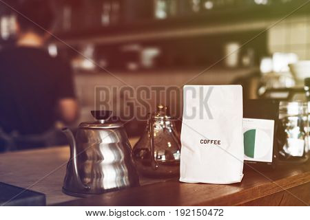 Coffee shop with objects on the wooden table