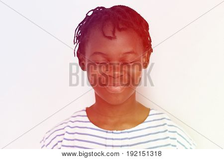 Cheerful Girl Standing Smiling  Concept