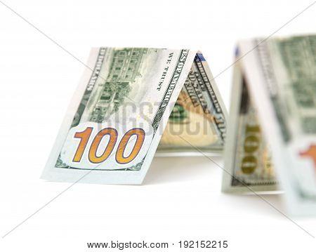 hundred dollar bill on a white background .