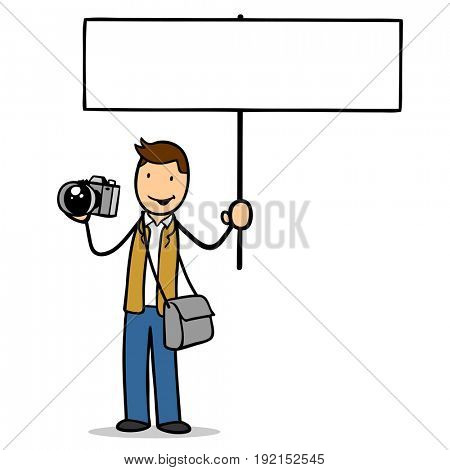 Man as photographer for profession holding blank sign and a camera