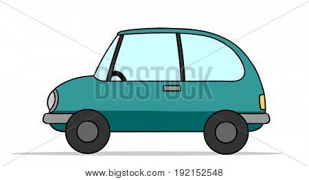 Small blue auto or car as cartoon or illustration