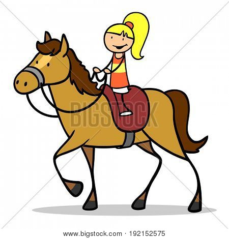 Illustration or cartoon of child riding horse