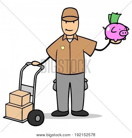 Parcel delivery man with piggy bank as money or investment concept
