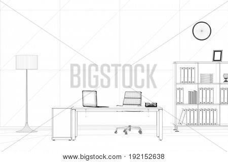 CAD sketch of office study room for business home office (3D Rendering)