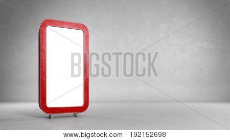 Empty advertising frame in empty room as backgroud (3D Rendering)