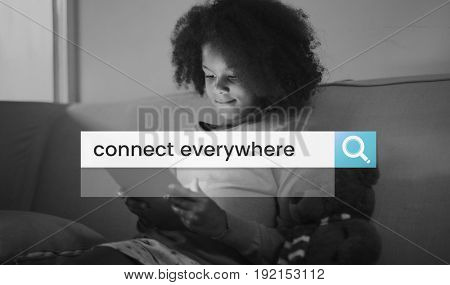 Stay Connect Everywhere Word in Search Bar Magnifying Glass Graphic