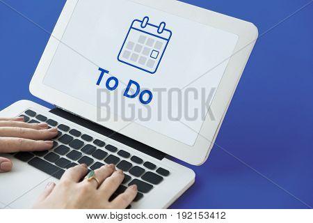 Illustration of personal organizer calendar on laptop