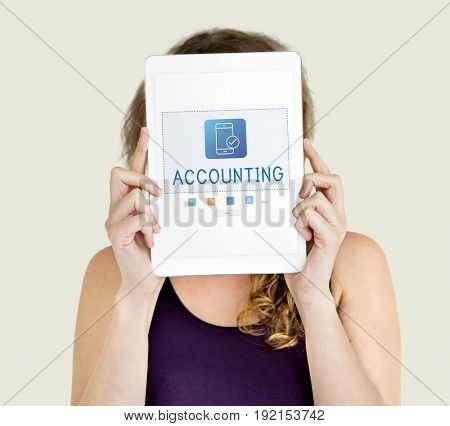Woman face covered with board