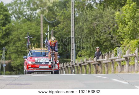 Bourgoin-Jallieu France - 07 May 2017: The Italian cyclist Sonny Colbrelli of Bahrain-Merida Team riding during the time trial stage 4 of Criterium du Dauphine 2017. Valverde is a strong contender for the final podium of the race.