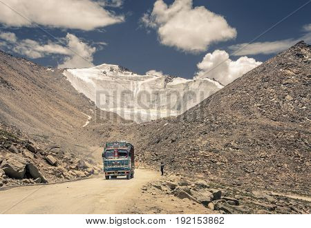 Ladakh, Kashmir, India, July 12. 2016: A truck  going through Changla pass in Ladakh, India - the world's third highest road pass