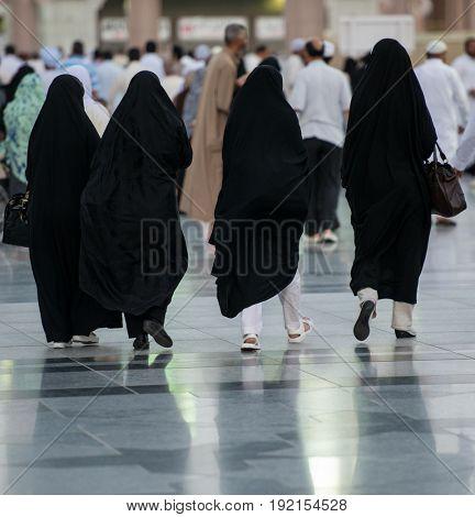 Arab women on the street walking