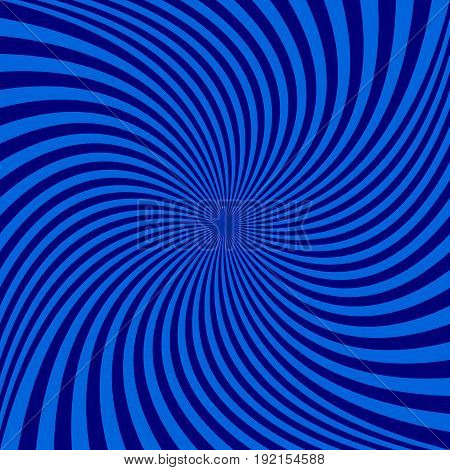 Abstract spiral ray background from thin rotating blue and black ray stripes - vector graphic