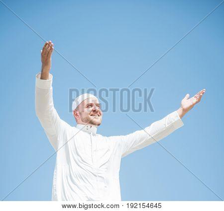 Happy Muslim man