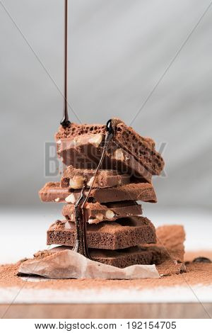 Tower of chocolate, porous, nuts