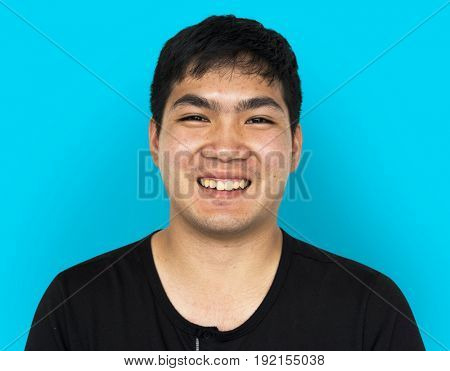 Young Adult Man Face Smile Expression Studio Portrait