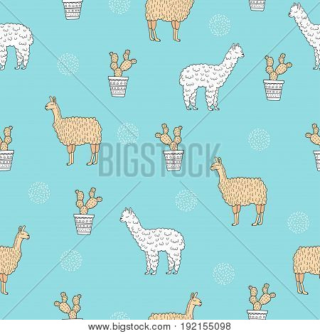 Seamless pattern with cute alpaca - south america's lama and cactus. Vector illustration.