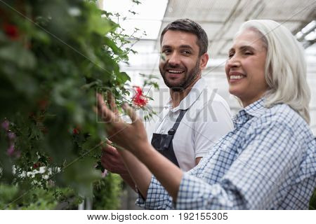 Image of mature happy woman standing in greenhouse near young bearded man touching plants. Looking aside.