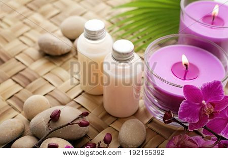 SPA cosmetics. cosmetics bottles and aromatherapy candles