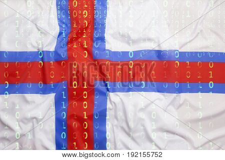 Binary Code With Faroe Islands Flag, Data Protection Concept