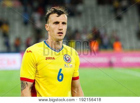 CLUJ-NAPOCA, ROMANIA - 13 JUNE 2017:Romania's Vlad Chiriches during the Romania vs Chile friendly, Cluj-Napoca, Romania - 13 June 2017