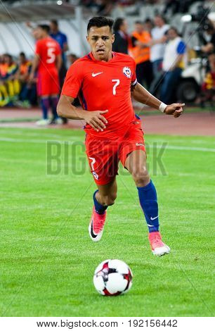 CLUJ-NAPOCA, ROMANIA - 13 JUNE 2017:Chile's Alexis Sanchez in action during the Romania vs Chile friendly, Cluj-Napoca, Romania - 13 June 2017