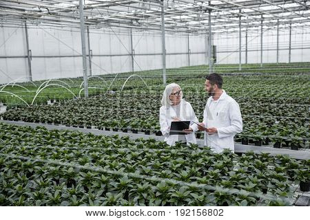 Image of attractive young man and mature woman standing in greenhouse near plants holding tablet computer and clipboard. Looking aside.