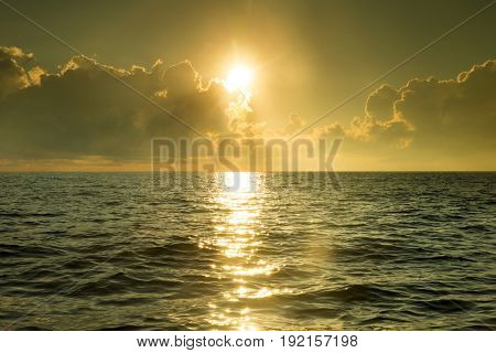 tropical beach and sea at sunset times in maldvies island