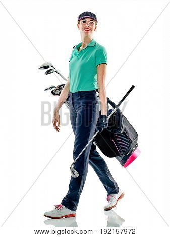 one caucasian woman woman golfer golfing in studio isolated on white background