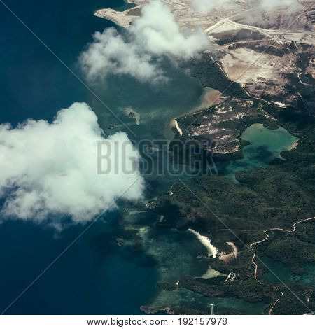 Aerial view of island and clouds. Philippines 2017