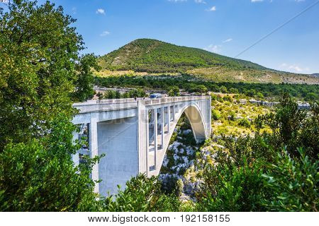 The white bridge over river Artuby from which arranged jumping. Canyon of Verdon, Provence, France. The largest alpine canyon Verdon