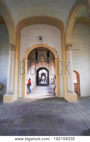 PADOVA, ITALY - May, 24, 2017: colonnade in a center of Padova, Italy