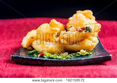 Thai food fried squid on a plate