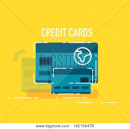 Flat design credit card concept with modern line elements
